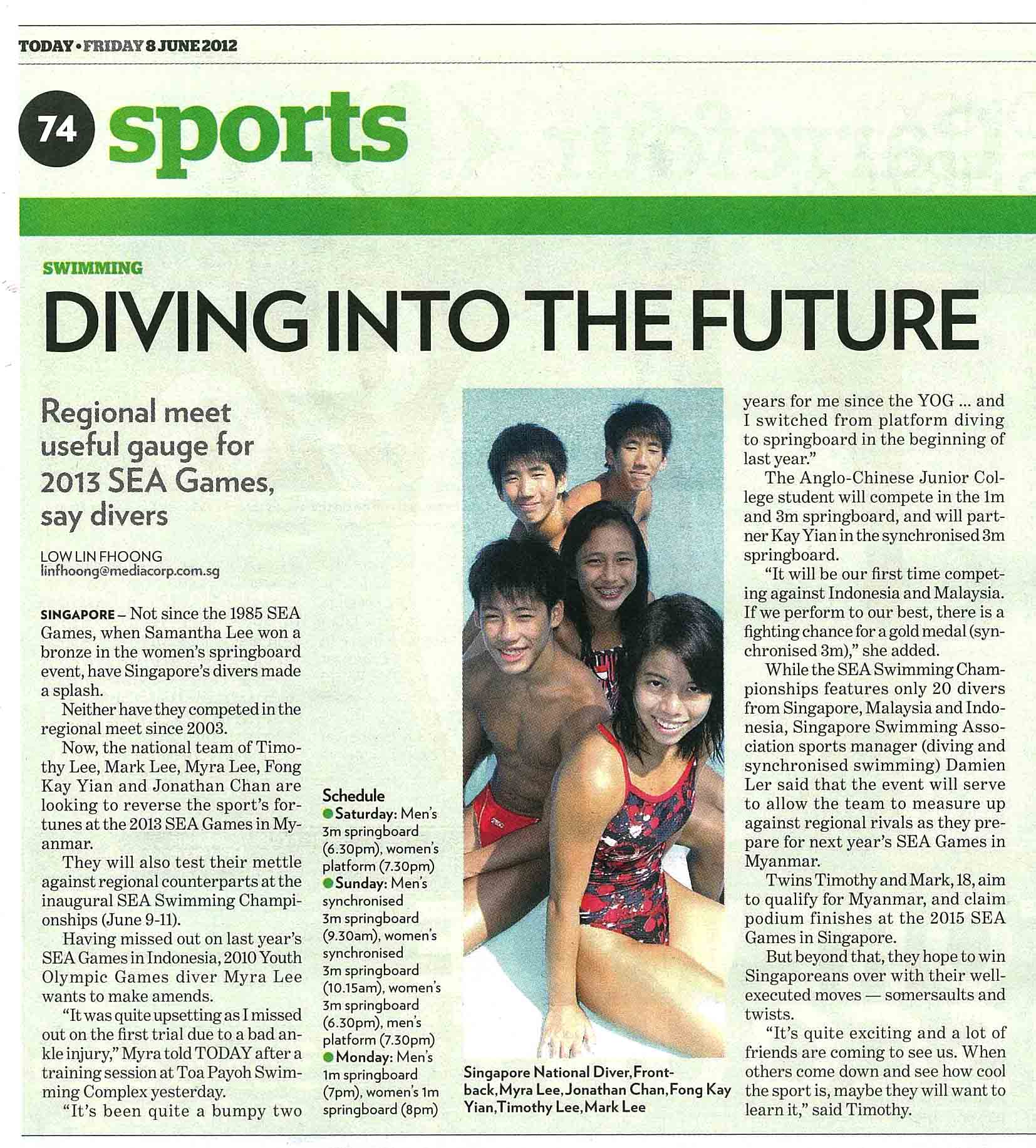 Today Newspaper – 8th June 2012 | Singapore Diving